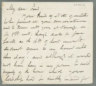 [Draft letter from Eugene O'Curry to 'My Lord', regarding a dinner invitation.]