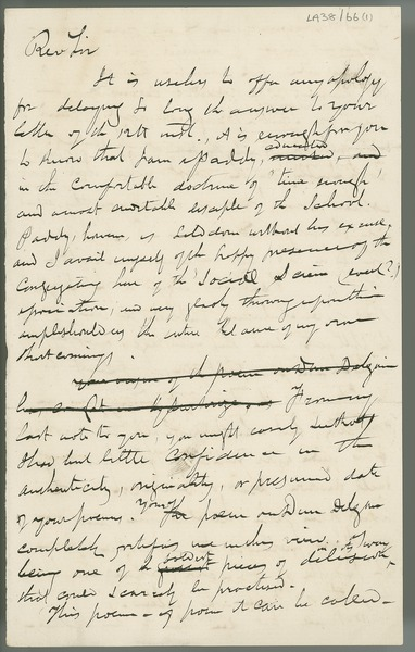 [Draft letter from Eugene O'Curry to an unnamed correspondent, commenting on his poetry.]