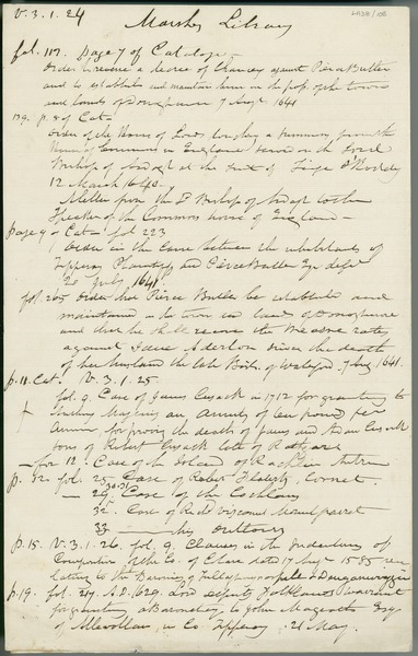 [Notes, in Eugene O'Curry's hand, taken from a catalogue in Archbishop Marsh's Library, Dublin.]