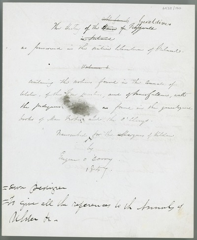 [Draft title of a discussion on 'The History of the Geraldines [...] by Eugene O'Curry, 1847'.]