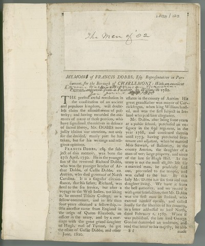 [Article from 'Walker's Hibernian Magazine [...]', entitled 'Memoirs of Francis Dobbs'.]
