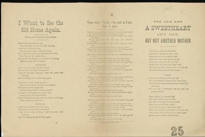 [Various ballads printed on an uncut sheet.]