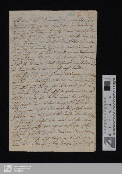 """An Friedrich Hölderlin - Cod.hist.qt.734,18,S.4 : """"Er wird deine Zimmer oben beziehen ...""""; [Brief, 5.3.1800]"""
