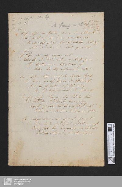 Die Heimath - Homburg.H,15-18 : [Ausz.]; 4 Verse; [StA 2,19/416]