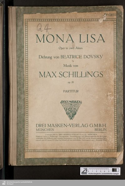 Mona Lisa : Oper in zwei Akten; op. 31