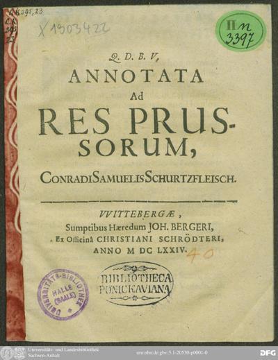 Annotata Ad Res Prussorum