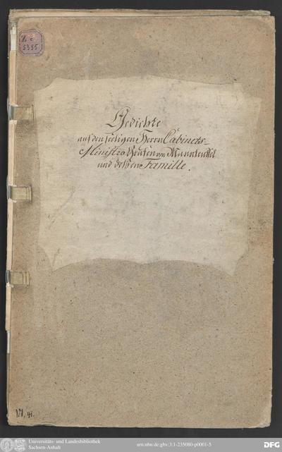 Schreiben der Wahrheit an Se. Hochgebohrne Excellenz den Herrn Reichsgrafen von Manteuffel, Dessen Verdienste Jhn über alle Seine Titel erheben, an Dessen Geburtstage den 22. Juli 1740 nebst Plutarchs Abhandlung, dass ein...