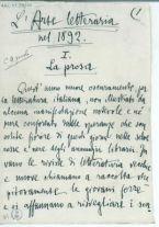 L'arte letteraria nel 1892. I. La prosa