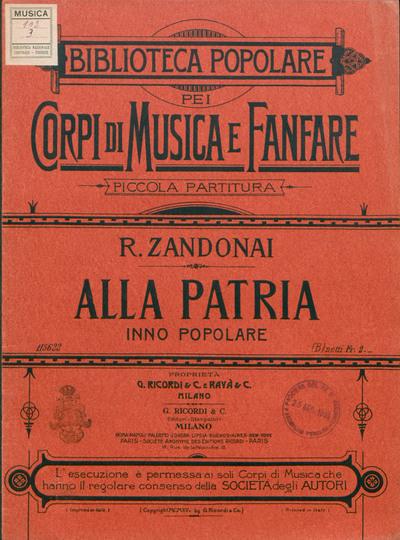 Alla patria : Inno popolare / Versi di Giovanni Bertacchi ; Istrumentazione di Alessandro Peroni