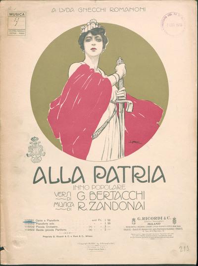 Alla patria : inno popolare / versi di G. Bertacchi ; musica di R. Zandonai