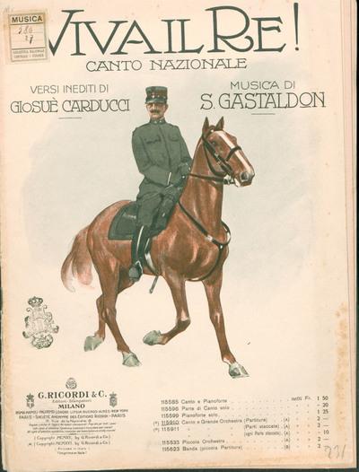 Viva il re! : canto nazionale, per canto e grande orchestra / versi inediti di Giosuè Carducci