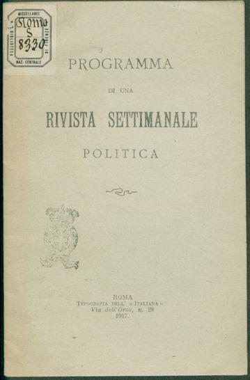 Programma di una rivista settimanale politica / Francesco Coppola, Alfredo Rocco