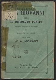 Don Giovanni, ossia Il dissoluto punito : dramma giocoso in due atti / musica di W. A. Mozart