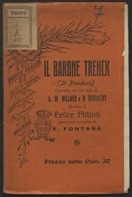 Il barone Trenck : (il panduro) : Operetta in tre atti / Musica di Felice Albini ; Riduzione di F. Fontana
