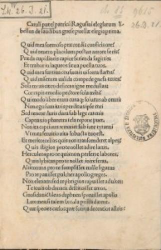 Elegiarum libellus De laudibus Gnesae puellae.