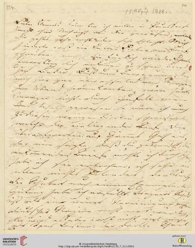 Brief von Achim von Arnim an Clemens Brentano - 1808-08-15