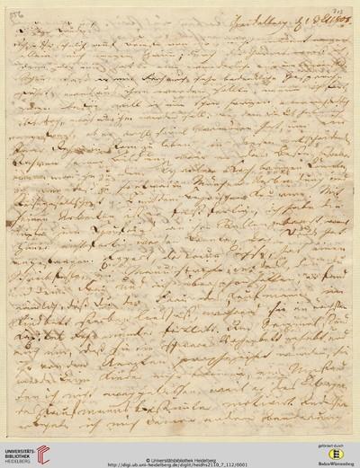 Brief von Achim von Arnim an Clemens Brentano - 1808-10-01