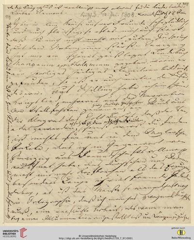 Brief von Achim von Arnim an Clemens Brentano - 1808-01-12