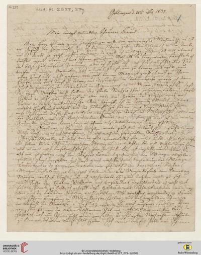Brief von Carl Oesterley und Sophie Oesterley an Georg Gottfried Gervinus - 1837-12-25