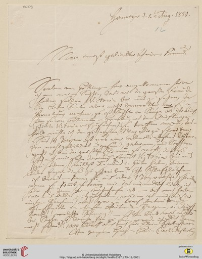 Brief von Carl Oesterley an Georg Gottfried Gervinus - 1850-08-02