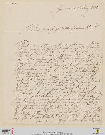 Image from object titled Brief von Carl Oesterley an Georg Gottfried Gervinus - 1850-08-02