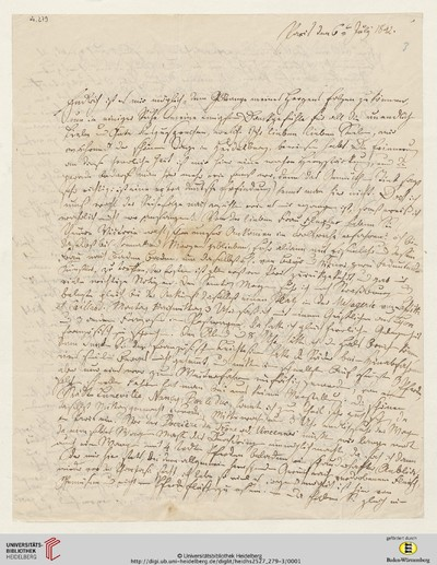 Brief von Carl Oesterley an Viktoria Gervinus - 1842-07-06