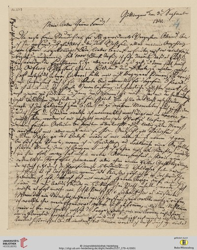 Brief von Carl Oesterley an Georg Gottfried Gervinus - 1842-09-03