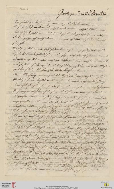 Brief von Sophie Oesterley und Carl Oesterley an Viktoria Gervinus - 1842-11-03