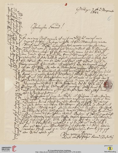 Brief von Carl Oesterley an Georg Gottfried Gervinus - 1842-11-16