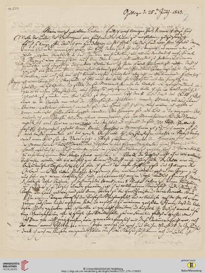 Brief von Sophie Oesterley und Carl Oesterley an Georg Gottfried Gervinus und Viktoria Gervinus - 1843-07-25