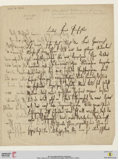 Brief von Friedrich Christoph Schlosser an Carl Oesterley - 1844-08-06