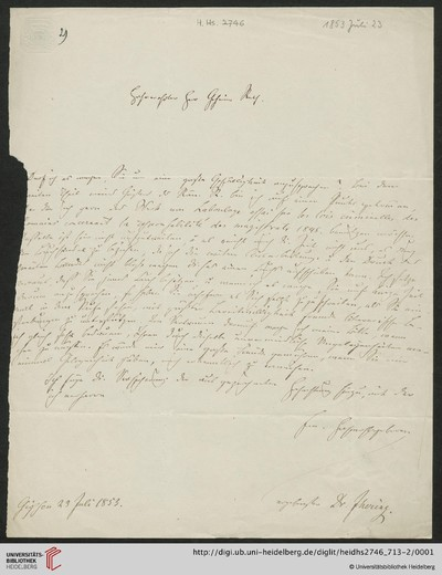 Brief von Rudolf von Jhering an Carl Joseph Anton Mittermaier - 1853-07-23