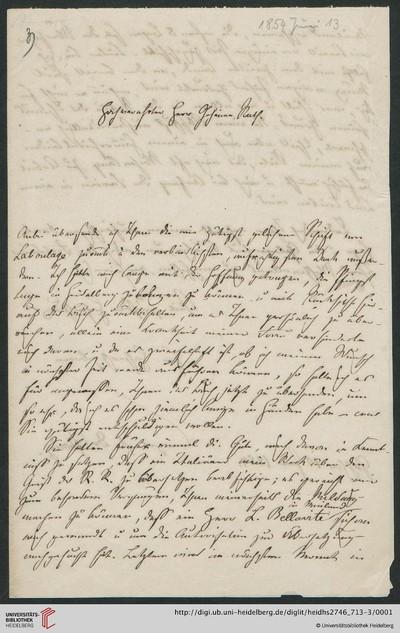Brief von Rudolf von Jhering an Carl Joseph Anton Mittermaier - 1854-06-13