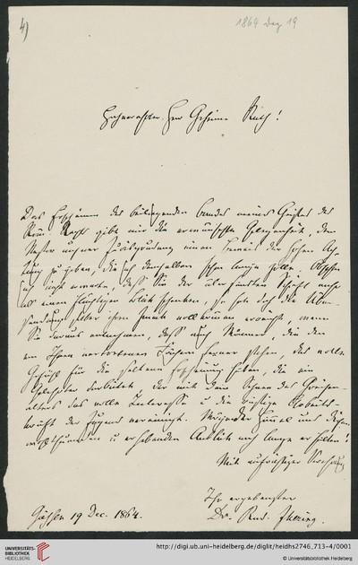 Brief von Rudolf von Jhering an Carl Joseph Anton Mittermaier - 1864-12-19