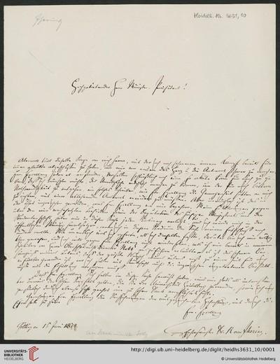 Brief von Rudolf von Jhering an Julius Jolly