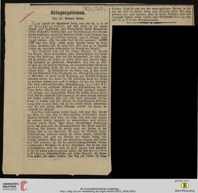 """Zeitungsartikel """"Kriegsegoismus"""" -"""