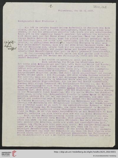 Brief von Emil Lask an Heinrich Rickert - 1895-12-29