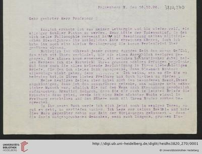 Brief von Emil Lask an Heinrich Rickert - 1895-10-16