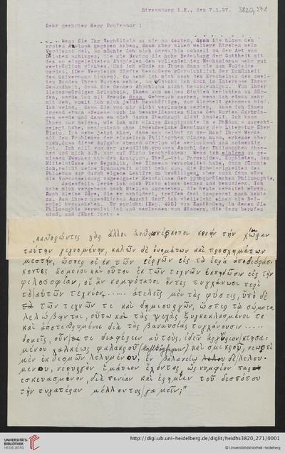Brief von Emil Lask an Heinrich Rickert - 1897-01-07