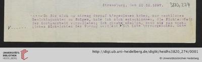 Brief von Emil Lask an Heinrich Rickert - 1897-10-20