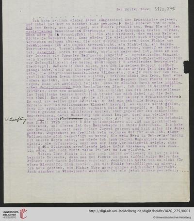 Brief von Emil Lask an Heinrich Rickert - 1897-12-30