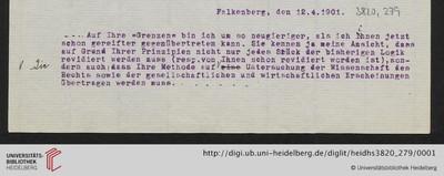Brief von Emil Lask an Heinrich Rickert - 1901-04-12