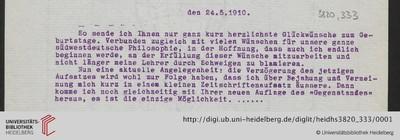 Brief von Emil Lask an Heinrich Rickert - 1910-05-24
