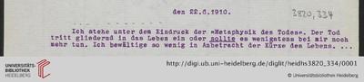 Brief von Emil Lask an Heinrich Rickert - 1910-06-22