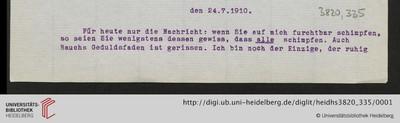 Brief von Emil Lask an Heinrich Rickert - 1910-07-24