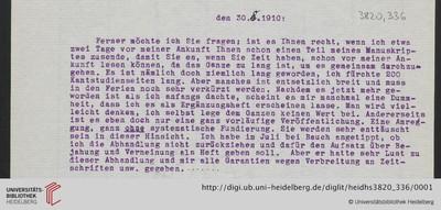 Brief von Emil Lask an Heinrich Rickert - 1910-08-30