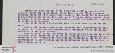 Brief von Emil Lask an Heinrich Rickert - 1910-08-31