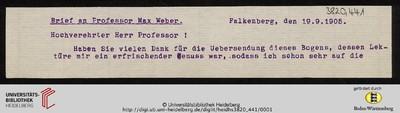 Brief von Emil Lask an Max Weber - 1905-09-19