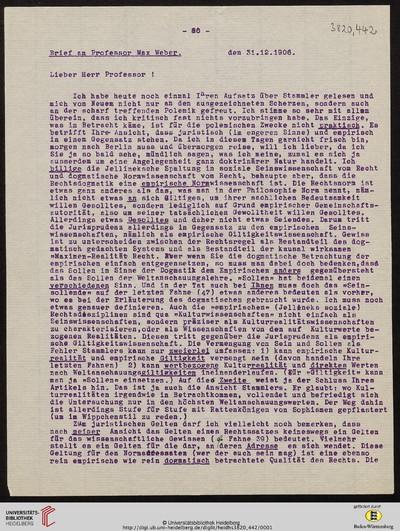 Brief von Emil Lask an Max Weber - 1906-12-31