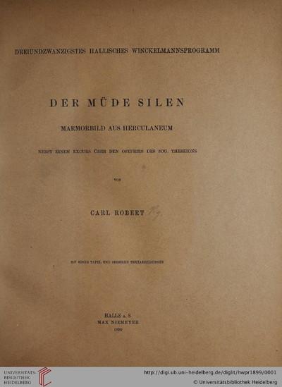 Hallisches Winckelmannsprogramm: Der müde Silen: Marmorbild aus Herculaneum - 1899